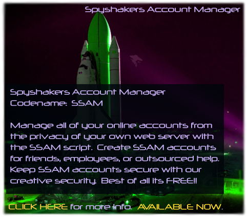 Spyshakers Account Manager.  SSAM.